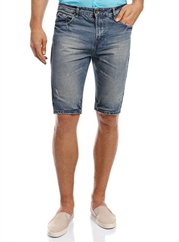 oodji Ultra Uomo Shorts in Jeans, Blu, L / EU 33 (IT 48)