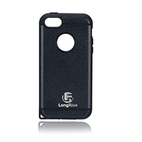LongRise(ロングライズ) iPhone SE 5s 5 耐衝撃 ケース 2層構造 ストラップホール付き (黒)