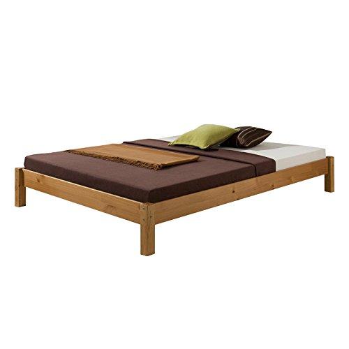 Futonbett Bett Doppelbett Massivholzbett TAIFUN,Kiefer, honigfarben lackiert, 140 x 200 cm