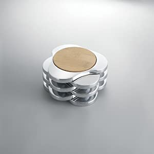 Nambe Coaster Set, Wood with Metal Alloy, Set of 6