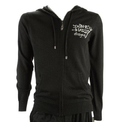 Ed Hardy Mens Bulldog Hoodie Zip Up Sweater -Black - Large