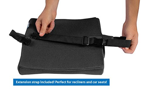 elephix memory foam lumbar support cushion lower back pain relief orthopedic posture pillow travel case and extension strap included u2013 seniors emporium