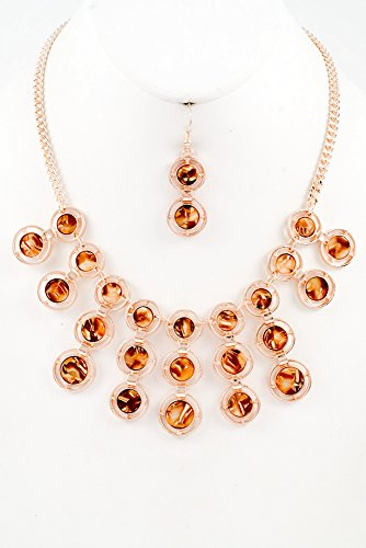Glitz Finery Round Precious Stone Drop Necklace Set (Rose Gold)