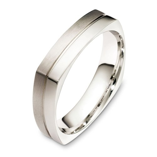 14K White Gold, Alternating Finish Square 5MM Wedding Band (sz 7.5)