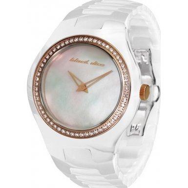 Black Dice 'Showgirl' Ladies Swarovski Crystal Set White Ceramic Watch