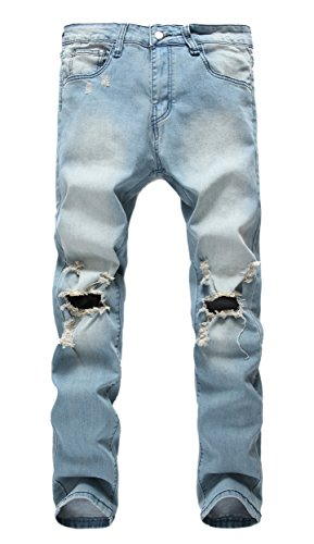 Men's Light Blue Ripped Skinny Distressed Destroyed Slim Jeans Pants with Holes,Light Blue,W36 (Jeans Blue Light For Men compare prices)