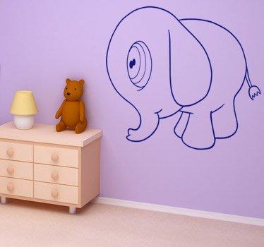Imagen 1 de Tenvinilo - Vinilo Infantil Elefante Gordito - Color : Negro - Talla : 57 x 46