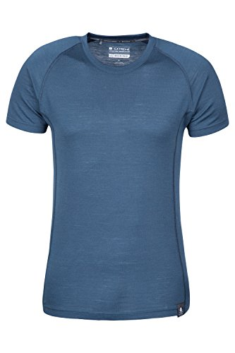 Mountain Warehouse T-shirt in lana merino da uomo Summit Blu navy X-Large