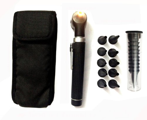 Zzzrt Pro Physician 2.5V Halogen Ligh Fiber Optic Otoscope Mini Pocket Medical Ent Diagnostic Set Black + Free Protective Cover