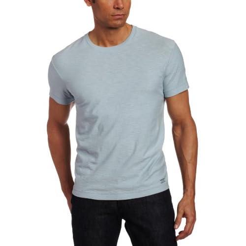 CALVIN KLEIN(カルバンクライン) スラブ織 クルーネック半袖 Tシャツ(並行輸入品) (M, ライトブルー)