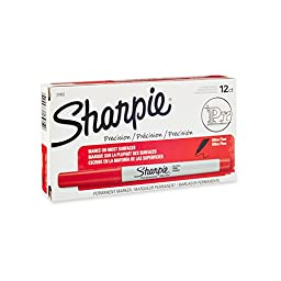Sharpie Permanent Markers, Ultra-Fine Point, Red, 12 - Pack
