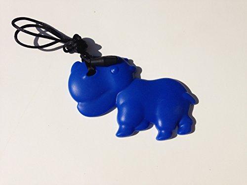 SillyMunk TM Silicone Teething Animal Pendants - Hippos (Blue) - 1