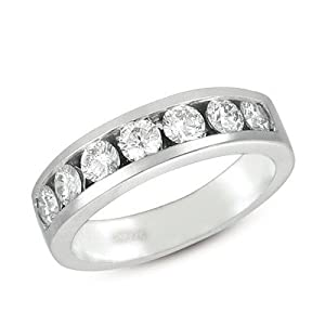 14k White Gold Diamond Channel Band Ring - JewelryWeb