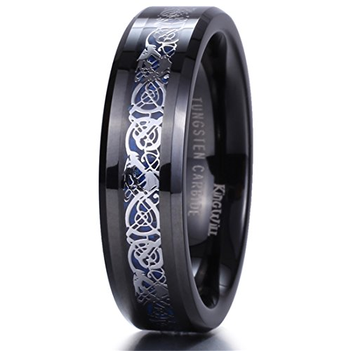 King Will 6mm Black Tungsten Carbide Ring Blue Carbon Fiber Silver Celtic Dragon Wedding Band 6.5 (Tungsten Carbide Ring Set compare prices)