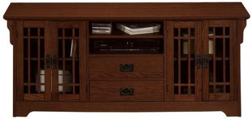 Cheap Craftsman Wide screen Tv Stand With 4 Glass Doors (B002OVX6M2)