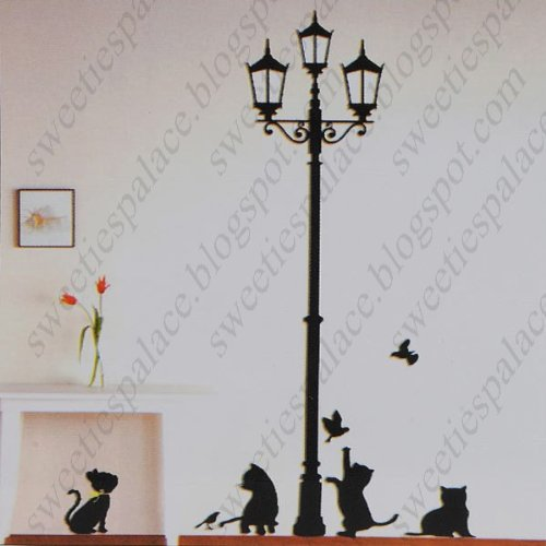 DIY Decorative Wall Paper Art Sticker Mural Decal Sticking Decor Wallpaper- Cat Street Lamp Style HHI-20226