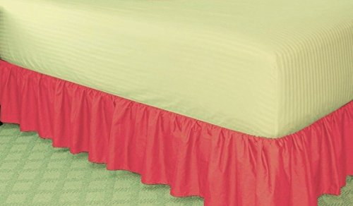 GorgeousHomeLinenDifferent Colors & Sizes Solid Bed Bedding Skirt Soft 100% Soft Smooth Microfiber Pleated-Only on 4 Corners (Full, Hot Pink) (Hot Pink Bed Skirt compare prices)