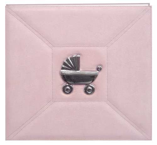 Baby Metal Applique Faux Suede Postbound Album 12'X12'-Pink Carriage