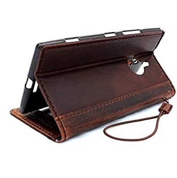 1. Genuine Leather Hard Case Nokia Lumia 1520 Flip Cover Wallet Book Handmade Hard Stand Id