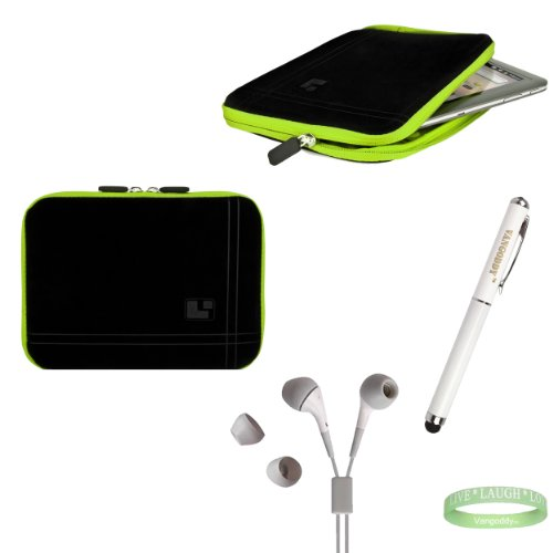 Black And Green Sleeve, Bubble Like Interior Lining To Prevent Scratches For Your 8Inch Tablet + Electric Geen Vangoddy Bracelet + 3 In 1 Styuls + Green Earbuds!!!