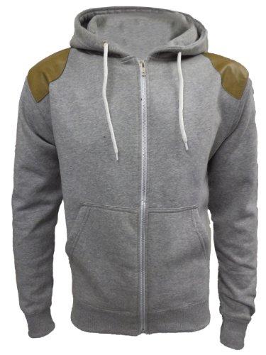 Mens Suede Patch Hoody Gents Zip Fleece Hoodie Sweatshirt Sizes UK M LGrey