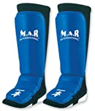 M.A.R International Ltd Genuine Leather Mma Shin And Instep Leg Guards Boxing Fitness Kickboxing Sparring Gear Thai Boxing Gym Equipment Muay Thai Training Supplies Blue Large