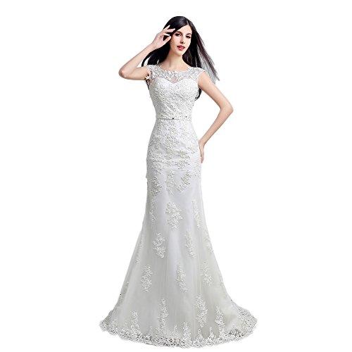 Wedding Dress Accessories Straps : Engerla women s sheer lace straps sheath train wedding