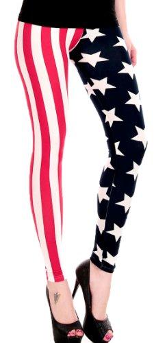 erdbeerloft - Damen Kostüm Leggings, Amerika Flagge Sterne, bunt, S-L
