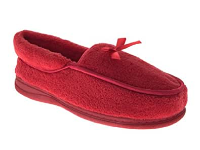 WOMENS SOFT FLEECE SLIPPERS LADIES MOCCASIN SLIPPER SHOES SLIP ON MULES MOCCASINS BOOTS HOT PINK SIZE UK 4