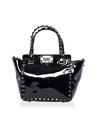 Valentino Women's Patent Rockstud Double Handle Tote, Black