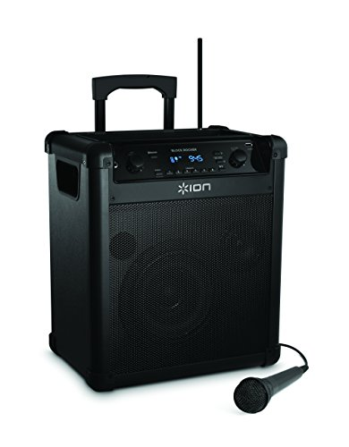 ION Audio Block Rocker (iPA76A) | Portable Bluetooth Speaker with Mic, Radio, and Wheels & Handle for Transport [2015 Model]