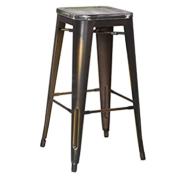 2016 NEW Adeco 30-inch Metal Counter Bar Stools, Vintage Retro Barstool, Distressed copper, Wooden Seat with a blend of Green (SET OF TWO)