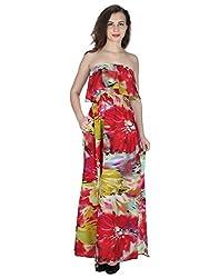 Miway Women's Print Polyester Off Shoulder Splash Bright Print Dress (pink, Small)