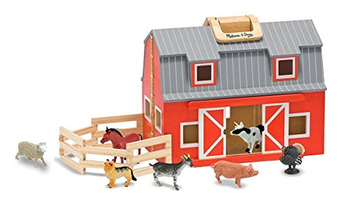 Melissa & Doug Learning Toy Fold & Go Wooden Barn Playset