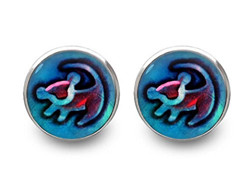[Lion King stud earrings Simba earrings Disney jewelry -with gift box] (Rafiki And Simba Halloween Costume)