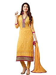 Look N Buy Women's Mix Cotton Semi Stitched Dress Material (213D1298_Yellow_Free Size)