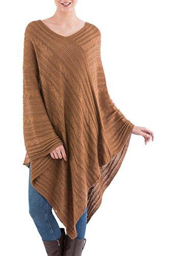 novica-brown-alpaca-blend-textured-poncho-copper-inca-maze