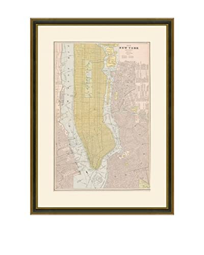 Vintage Print Gallery Antique Map Of New York City 1883-1903, Multi, 29 x 22