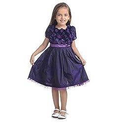 Western Look Styliest Modern Purple Rose Flower Dress - 4-5 Years