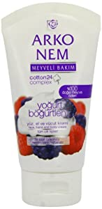 Arko Nem Yoghurt and Blackberry Cream Face Hand and Body Cream, 75 Gram