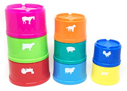 Stacking Cups and Early Learning Toys from White Fox Toys - Teach Toddlers Colors, Farm Animals, Counting and Sizes - Bath Friendly - Nesting Storage - For Boys and Girls