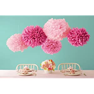 wedding reception decoration ideas, martha stewart pom poms