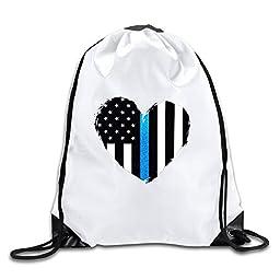 BOoottty Thin Blue Line Heart Flag Drawstring Backpack Bag