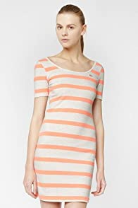 L!VE Half Sleeve Stripe Scoopneck Pique Dress
