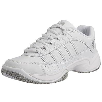 K-Swiss 91121-147-M - Zapatillas de tenis de cuero para mujer, color blanco, talla 38.5
