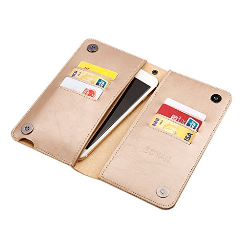 ELEOPTION Synthetic Leather Universal Wallet Case for Men and Women Compatible with iPhone 4s/5/5s/5 SE, iPhone 6/6s, iPhone 6/6s Plus,iPhone 7, iPhone 7 Plus, Samsung Galaxy (Gold) (Iphone 4s Cases Sewing Machine compare prices)