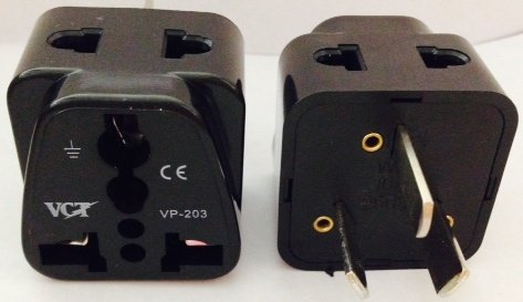 Vct Grounded 2-Outlet Universal Plug Adapter For Australia, New Zealand, China And More - Ce Certified Rohs Compliant(Vp-203B)
