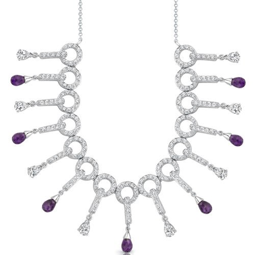 Dainty Chic: 3.75 carats total weight Briolette Drop Amethyst & White CZ Gemstone Necklace in Sterling Silver Free Shipping