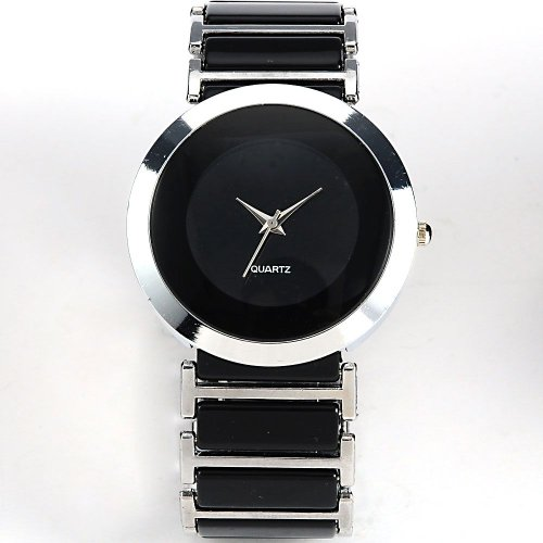 AMPM24 Mens Women Lady Silver Black Sport Black Dial Quartz Wrist Watch