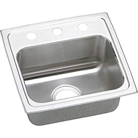 Elkao|#Elkay LRAD171650OS4 18 Gauge Stainless Steel 17 Inch x 16 Inch x 5 Inch single Bowl Top Mount Kitchen Sink,